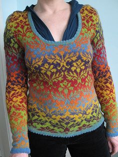 Kauni yarn. Same kind of yarn I used for my rainbow shawl. It's amazing what it can do!