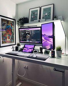Computer Desk Setup, Gaming Room Setup, Pc Setup, Home Office Setup, Home Office Design, Office Desk, Bedroom Setup, Video Game Rooms, Game Room Design