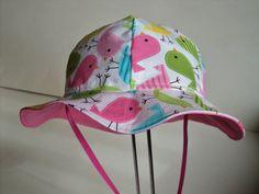 BABY SUN HAT Made To Order Size Newborn To 7Years. Toddler Sun Hat.Baby Girl Sun Hat, Urban Zoologie Spring Birds.