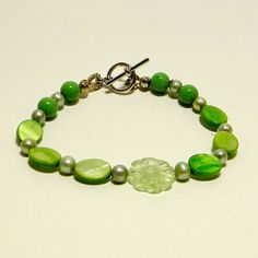 Green Mother of Pearl with Pearls Beaded by BackAtTheOffice