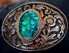 Western Belt Buckle Featuring an Abalone Shell by EstatesInTime