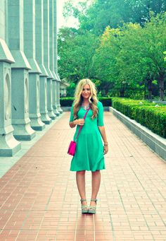 Go green with emerald pieces! What a super fun dress!  Would love to through this on and just go!