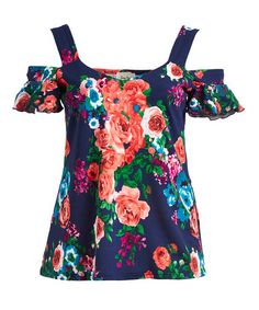 Look what I found on #zulily! Navy Floral Cutout Top - Plus #zulilyfinds