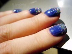 royal blue nail polish with silver glitter tips