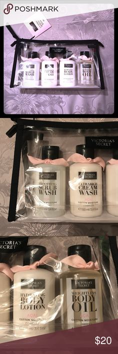 🆕 VS Ultimate Moisture To Go Lotion Set in Açai This adorable lotion set is brand new and contains four 3.4 fl oz bottles. Items included: smoothing scrub wash, ultra rich cream wash, hydrating body lotion, and weightless body oil. The açai scent smells so good! Free gift with purchase :) Victoria's Secret Other