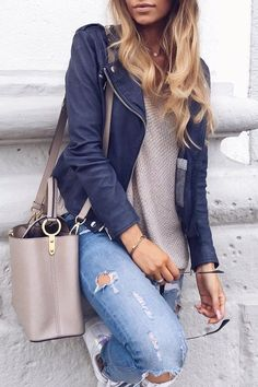 #fall #fashion · Blue Jacket + Cream Sweater + Destroyed Jeans