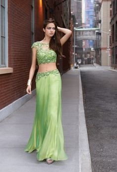 Two Piece Illusion Green Prom Dress from Camille La Vie and Group USA New York Street Style