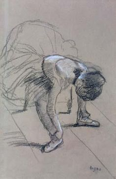 Edgar Degas - Seated Dancer Adjusting Her Shoes - 드로잉/구도 갑