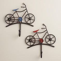 Get a handle on your keys with our vintage-look Red and Blue Bicycle Hooks. Hang our handy hooks in your entryway for a clever way to keep clutter at bay. Baby Bicycle, Bicycle Decor, Bicycle Art, Bicycle Design, Arte Bob Marley, Bike Craft, Bike Shelf, Bathroom Red, Baby Boy Rooms