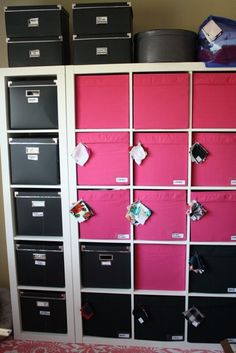 Pink and black Expedit: Gertie's New Blog for Better Sewing: No Sewing, Just Organizing