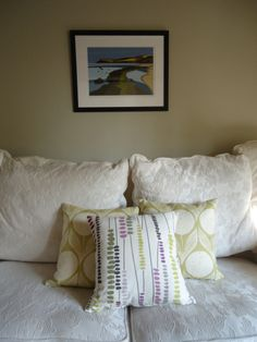 New lounge design scheme - cushions from Romo Fabrics and Ian Mitchell of Staithes image on wall #luxurycottage #northyorkshire