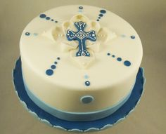 First Communion Cake. Handmade fondant cross with modern dot design