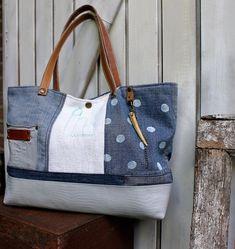Sac style patchwork bleu et blanc pois anses en cuir
