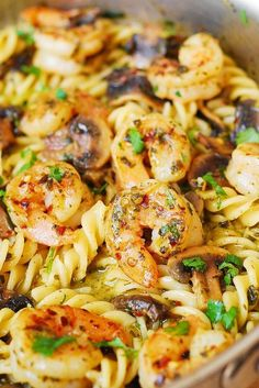 Pesto Shrimp Mushroom Pasta ~ large shrimp and spiral pasta smothered in a delicious basil pesto sauce...and on the table in 30 minutes . ♥