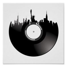 Shop New York City Vinyl Record Poster created by goeaglellc. Personalize it with photos & text or purchase as is! Vinyl Record Art, Vinyl Art, Vinyl Records, Vinyl Record Projects, Record Wall, Dj Tattoo, City Tattoo, Tattoo Flash, Record Player Tattoo
