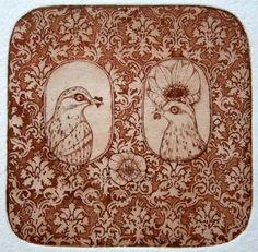 He and She - original etching, birds, sepia
