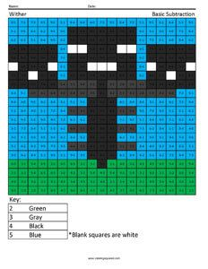 Wither Minecraft subtraction coloring page