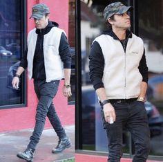 Justin Theroux Wears Supreme Sherpa Vest, Gucci Belt and Hermes Bracelet | UpscaleHype