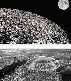 1: Biosphere by Shoji Sadao and Geometrics, Inc.  2: rendering by TC Howard of Synergetics, Inc for Buckminster Fuller of Dome over Manhattan, MOMA 1960.
