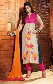 Picture of Enigmatic Beige, Pink and Teal Blue Salwar Kameez