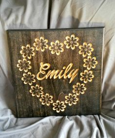 Personalized Carved Wood Sign with heart and flowers border for girls bedroom Dremel Router, Wood Crafts, Paper Crafts, Carved Wood Signs, Pretty Room, Pallet Creations, Diy Projects To Try, Elle Decor, Paper Flowers