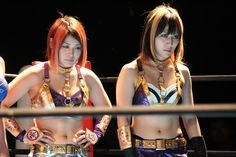 "Io Shirai and Mio Shirai back when they were known as ""The Sexy Purple Thunder Sisters"""