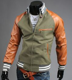 Men's Bomber Jacket with Faux Leather Sleeves