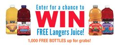 Enter to Win 1 Of 1,000 Free Bottles of Langers Juice  http://www.thefreebiesource.com/?p=80146