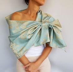 Taffeta Evening Shawl Wrap, Teal Beige D - Womens Fashion Couture Dresses, Fashion Dresses, Dress With Shawl, Evening Shawls, Bohemian Blouses, Mode Hijab, Shirts & Tops, Costume Dress, Shawls And Wraps