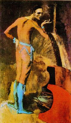 The Actor by Pablo Picasso (1904-5) During Picasso's Rose Period, when he changed his painting style from the downbeat tones of his Blue Period to warmer and more romantic hues. Painted on the reverse side of a landscape painting by another artist.