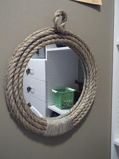 DIY Pirate Rope Mirror DIY Mirror DIY Home DIY Decor or use regular rope & a horse shoe for a western look Nautical Bedroom, Nautical Bathrooms, Pirate Bathroom Decor, Beachy Bathroom Ideas, Bathroom Beach, Beach Bath, Bathroom Mirrors, Wall Mirrors, Rope Mirror