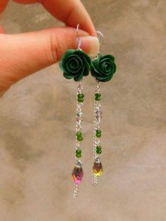 Rose earrings.  Handmade jewelry by Ksy https://www.instagram.com/p/BbW8JRJFYsm/