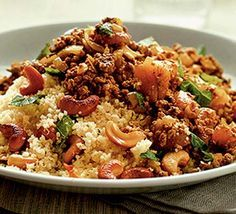 A great recipe from Quorn UK: Moroccan spiced mince with couscous Adding dried fruit, fresh mint and warm spices to savoury dishes is typical of North African cooking. Quorn replaces meat in this recipe Quorn Recipes, Veggie Recipes, Vegetarian Recipes, Cooking Recipes, Recipes With Fruit Mince, Vegetarian Cooking, Meals With Mince Beef, Beef Mince Recipes, Easy Recipes
