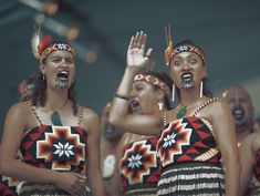 February 25, 2007. Women belonging to the 'Whangara-Mai-Tawhiti' kapa haka group, perform during the Te Matatini Kapa Haka national championships, at Arena Manawatu, Palmerston North, New Zealand.