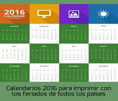 Calendarios 2016 para imprimir con los feriados de cada país #calendarios2016