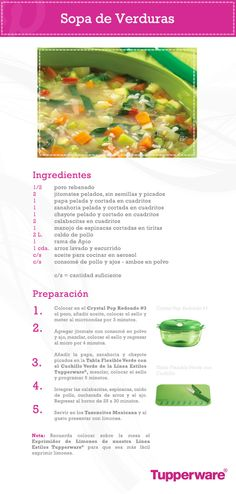Una receta saludable para toda la familia. Prepara con Tupperware esta rica sopa de verduras.