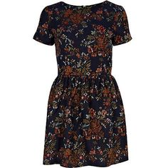 navy tapestry print dress - day dresses - dresses - women - River Island