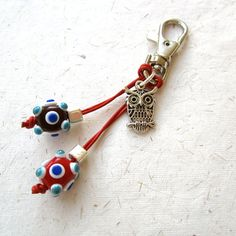Bag+charm+key+ring+red+lampwork+beads+purse+charm+by+THEAjewellery