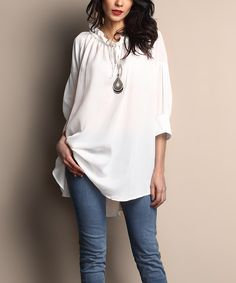 Look at this Reborn Collection White Front-Tie Tunic on #zulily today!