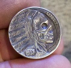 "Hobo Nickel Folk Art Halloween Skull Warrior Walking Dead by ""Sue"" 