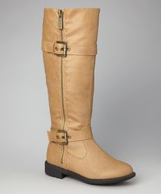 Take a look at this TOP MODA Taupe Double-Buckle Zipper Boot on zulily today!
