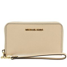 MICHAEL Michael Kors Wallets ($100) ❤ liked on Polyvore featuring bags, wallets, beige, beige wallet, michael michael kors, beige bag, michael michael kors wallet and brown bag