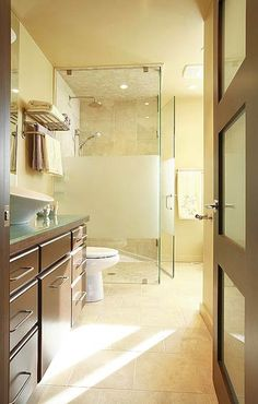 Beautiful Contemporary Bathroom. love the amount of natural light. Would need to fit in a bath tub as well though! :-P