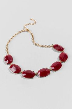 Mariana Facet Oval Statement Necklace in Burgundy $24.00