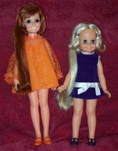 These dolls were wonderful - you push a button on their backs (or stomachs) & you can make the hair grow! Chrissy dolls.