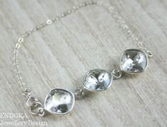 Clear crystal and sterling silver by EndoraJewellery on Etsy, $26.00