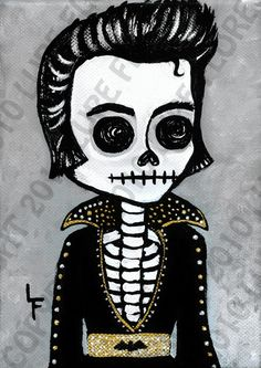 Elvis Presley The King day of the dead 5x7 art by ArtByLupeFlores, $6.99