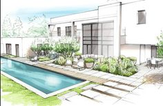 Having a pool sounds awesome especially if you are working with the best backyard pool landscaping ideas there is. How you design a proper backyard with a pool matters. Landscape Design Plans, Garden Design Plans, Landscape Architecture, Architecture Design, Interior Rendering, Interior Sketch, Architect Logo, Architect House, Famous Architects