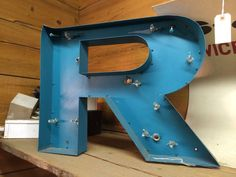 Sign, Teal, Letter R from Black Dog Salvage
