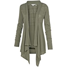 Fat Face Perido Cali Waterfall Cardigan, Green ($65) ❤ liked on Polyvore featuring tops, cardigans, pointelle cardigan, green top, cotton cardigan, long sleeve tops e long sleeve cotton tops
